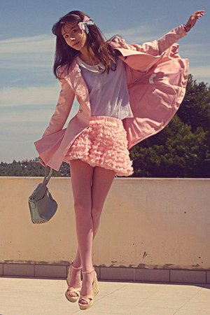 light pink Chicwish skirt - light pink romwe coat - aquamarine bag