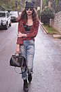 Black-ears-hat-periwinkle-boyfriend-jeans-ruby-red-tartan-choies-shirt