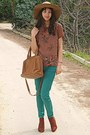 Burnt-orange-h-m-boots-camel-h-m-hat-burnt-orange-bag-teal-zara-pants