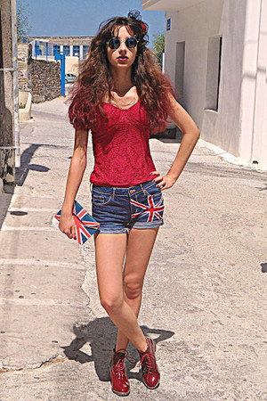 navy union jack DIY purse - ruby red boots - navy union jack DIY shorts