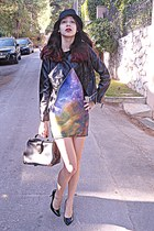 black doctor Chicwish bag - violet galaxy Chicwish dress - black hat