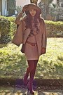 Camel-romwe-cape-burnt-orange-h-m-boots-nude-dorothy-perkins-dress
