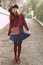 blue denim romwe skirt - maroon H&M hat - black tights - maroon bag