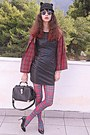 Black-ears-romwe-hat-dark-gray-leather-dress-ruby-red-tartan-choies-shirt