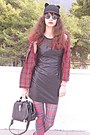 Dark-gray-leather-dress-black-ears-romwe-hat-ruby-red-tartan-choies-shirt