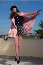 Black-beret-h-m-hat-light-pink-romwe-coat-black-clock-diy-bag-black-shorts