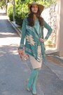 Aquamarine-polka-dot-romwe-blouse-camel-h-m-hat-aquamarine-tights