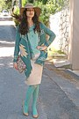 Camel-h-m-hat-aquamarine-tights-eggshell-floral-bag-teal-cardigan