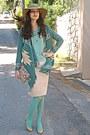 Camel-h-m-hat-aquamarine-tights-eggshell-floral-bag-teal-cardigan