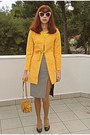 Mustard-romwe-coat-mustard-bag-white-romwe-sunglasses-black-heels