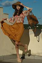 camel H&M hat - bronze Mimi Boutique bag - mustard Pop Couture skirt