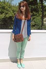Navy-romwe-blazer-burnt-orange-bag-ivory-striped-zara-t-shirt