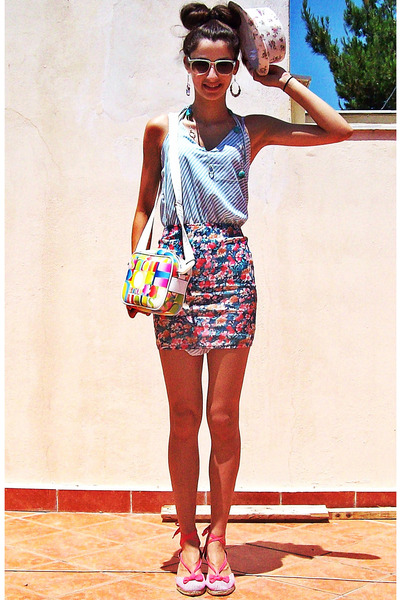 magenta floral pull&amp;bear skirt - aquamarine worn as top lulus dress