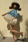 Camel-h-m-hat-ivory-dress-sky-blue-denim-stradivarius-shirt