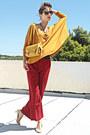 Mustard-zara-top-mustard-lulus-bag-ruby-red-pants-nude-steve-madden-pumps