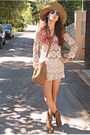 Ivory-crochet-chicwish-shorts-camel-cowboy-boots-camel-h-m-hat