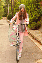 heather gray beret Tommy Hilfiger hat - light pink trench skirt romwe coat