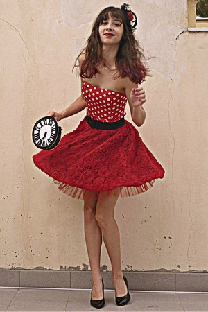 ruby red rose Chicwish skirt - ruby red polka dot AX Paris dress