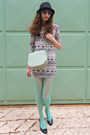 White-tribal-print-pop-couture-dress-aquamarine-calzedonia-tights