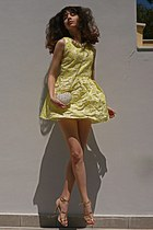 white studded heart romwe bag - light yellow pearl flower romwe dress