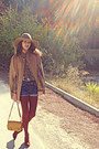 Brick-red-h-m-boots-camel-h-m-hat-mustard-lulus-bag-navy-denim-shorts