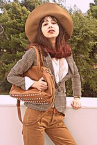 tan plaid Cozbest blazer - bronze H&M hat - bronze Mimi Boutique bag
