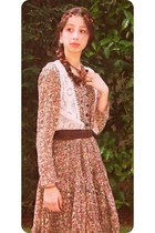 bronze vintage dress - cream crochet Zara vest - brown Stradivarius belt