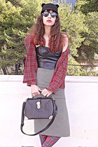 ruby red tartan Choies shirt - black ears romwe hat - black Chicwish bag