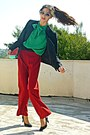Red-watermelon-diy-bag-black-blazer-red-pants-black-pumps
