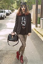 black ear romwe hat - brick red boots - beige leopard romwe leggings