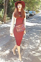 bronze collar romwe necklace - crimson Ebay dress - beige Barbour coat