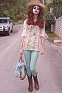 Dark-brown-boots-aquamarine-bag-romwe-sunglasses-aquamarine-pants