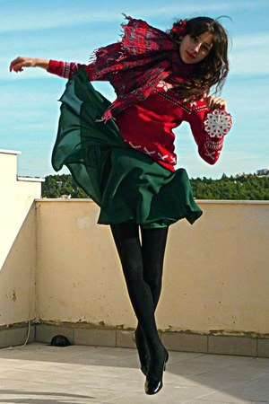 ruby red snowflake sweater - forest green H&amp;M dress - black tights