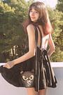 Black-romwe-dress-brown-owl-bag-black-oasap-heels