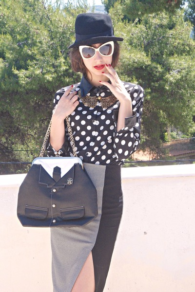 black polka dot romwe shirt - black hat - black VJ-style bag
