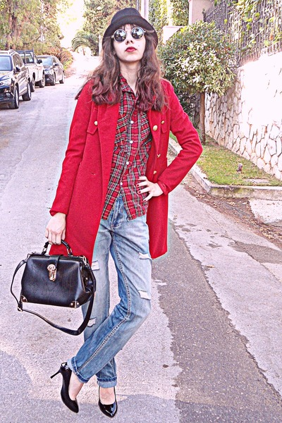 red VJ Style coat - sky blue DIY jeans - red tartan Choies shirt