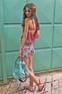 Aquamarine-bag-aquamarine-floral-romwe-shorts-red-sandals