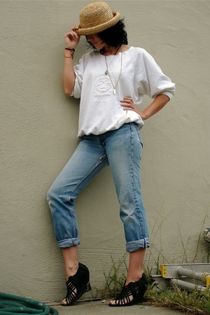 thrifted express hat - Chanel sweater - Levis 501 jeans - Zigi Soho shoes - tiff