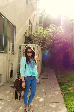 No Rest for Bridgette scarf - vintage jeans - Forever 21 sweater - bag
