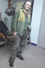 Dark-brown-leather-boots-olive-green-bpc-by-bonprix-cardigan-dark-khaki-cott