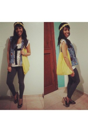 yellow Bossini bag - charcoal gray H&M leggings - blue denim Gap vest