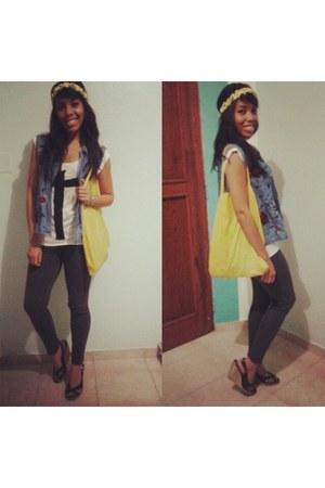 yellow Bossini bag - charcoal gray H&M leggings - blue denim Gap vest