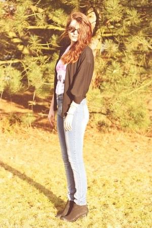 high waisted Cheap Monday jeans - black grtz boots - Pretty sucks shirt