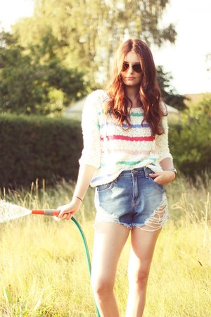 cropped jeans Silence  Noise shorts - striped Sparkle &amp; Fade sweater