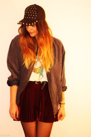 velvet OASAP skirt - spiked asos hat - vintage jacket - rainbow pony H&amp;M t-shirt