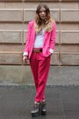 Hot-pink-fitted-zara-blazer-white-cotton-only-top-hot-pink-loose-zara-pants