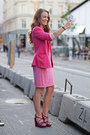 Hot-pink-fitted-zara-blazer-bubble-gum-sleeveless-h-m-dress