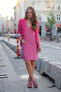 Bubble-gum-sleeveless-h-m-dress-hot-pink-fitted-zara-blazer