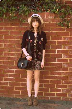 vintage cardigan - asos shoes - Jay Jays dress - Sportsgirl hat - thrifted bag