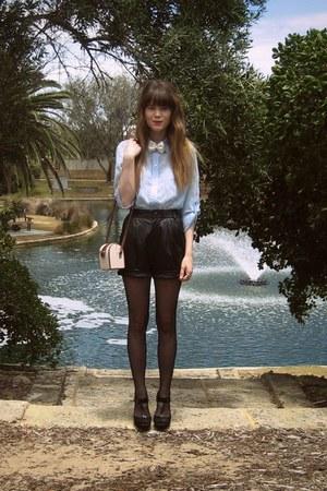 bow Lovisa accessories - thrifted shirt - Sportsgirl bag - vintage shorts